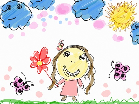 child's: childs drawing a happy girl with flower illustration