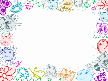 dog pen: child scribbles drawings frame background isolated on white