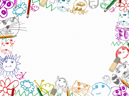 childrens drawings with pencils frame background isolated on white photo