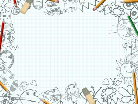 dog pen: childrens pencil drawings school desk background