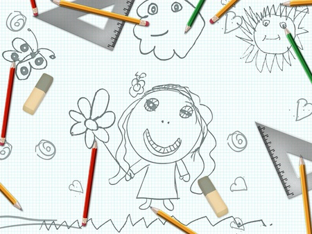 childrens pencil girl drawing school desk background photo