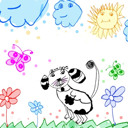 child's: childs drawing dog on a meadow illustration