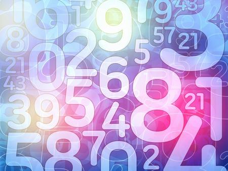 カラフルなランダム数値数学背景イラスト