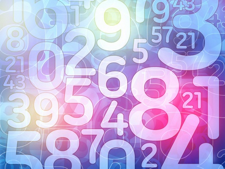 digital numbers:  colorful random number math background illustration