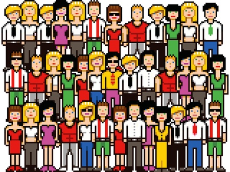 Set of pixel art people crowd illustration isolated on white Illustration