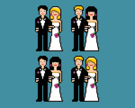 set of wedding pixel art newlywed avatars icons vector illustration Vector
