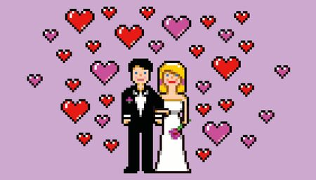wedding card in pixel art game style vector illustration Vector