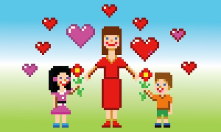 8 bit: happy mothers day card pixel art style