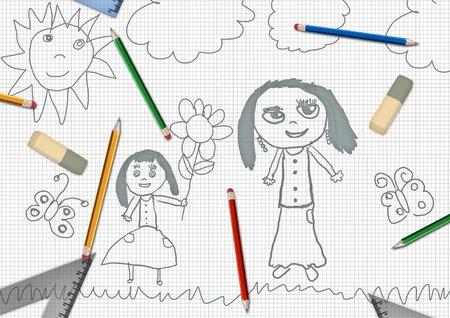 childrens pencil daughter giving flowers for mothers day school desk illustration illustration