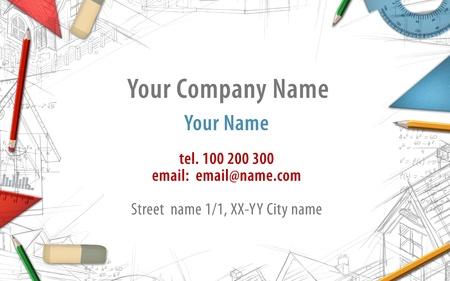 architect drawing: architect constructor designer builder business card background illustration