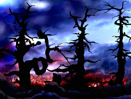 fog forest: dark and scary forest trees background illustration