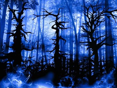 dark forest: forest dark landscape with old twisted trees illustration