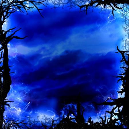 dark forest: dark blue forest square background frame illustration