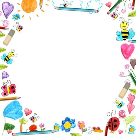 child flowers frame - scribbles drawings background isolated on white photo