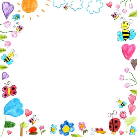 meadow frame - child scribbles drawings background isolated on white photo
