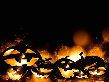 scary halloween pumpkins and magic mist illustration