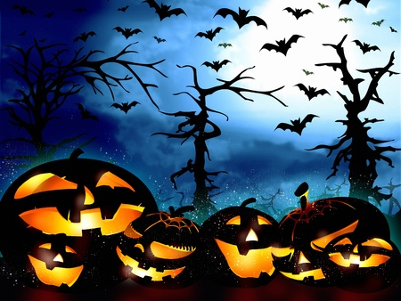 halloween pumpkins on the forest background and the sky full of bats