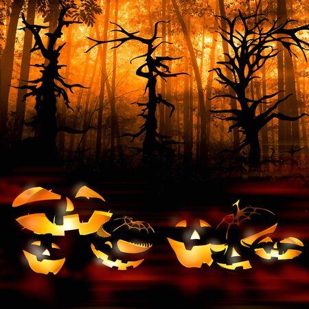 carved pumpkin: halloween pumpkins on the background of a dark forest illustration