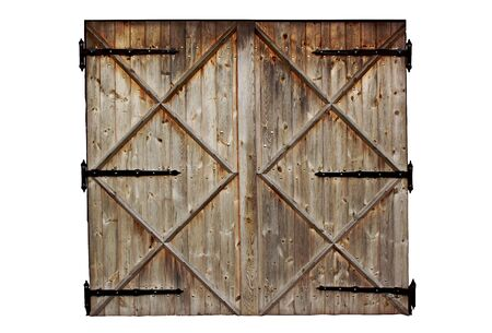 old barn wooden country door isolated on white background