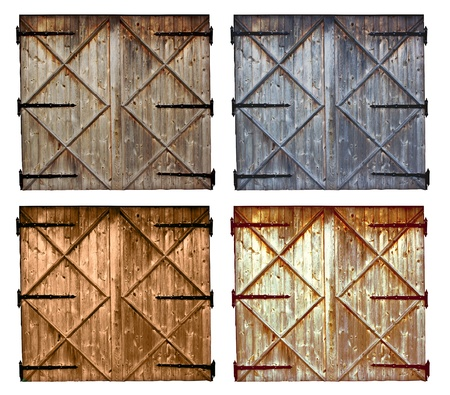 barn door: set of different colors old barn wooden door isolated on white background