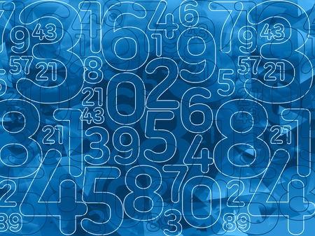 abstract dark blue outline numbers background illustration Stock Photo