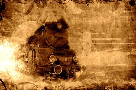 古い蒸気鉄道セピア色背景テクスチャ