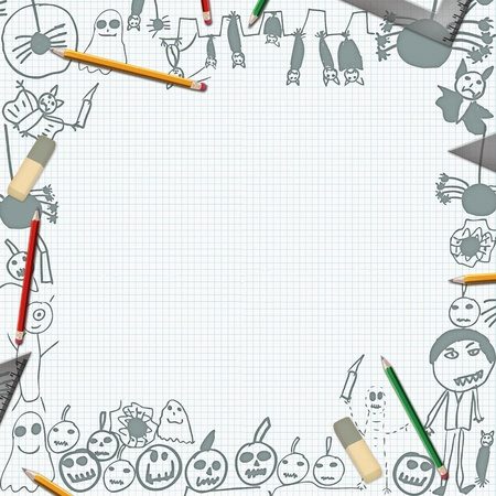 scribbles of halloween monsters on desk with pencils background frame photo