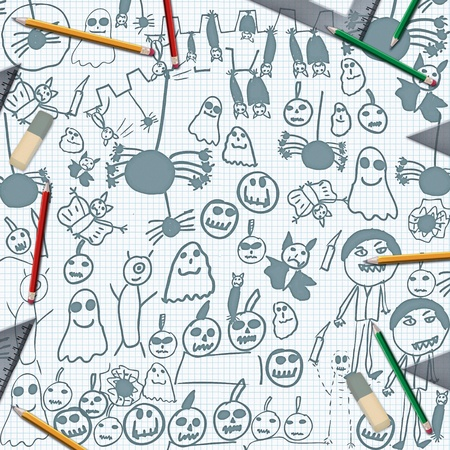scribbles of halloween monsters on desk with pencils background photo