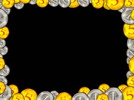 silver coins: Frame from golden silver coins on black background illustration Stock Photo