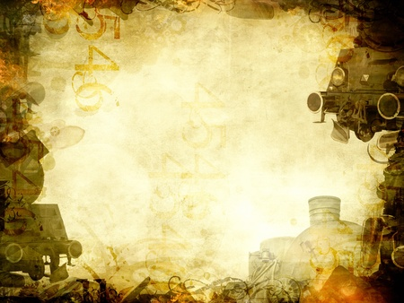 steam engines: old steam trains sepia background frame Stock Photo
