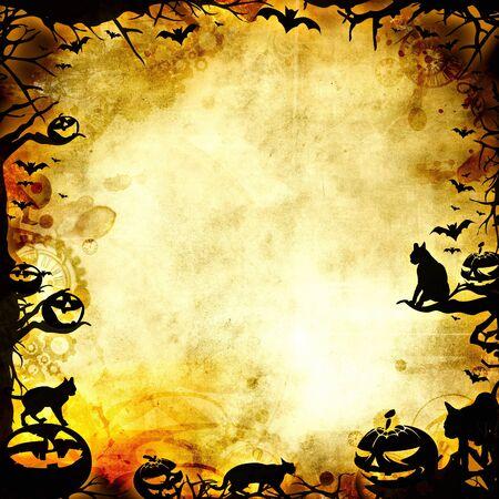 vintage halloween frame background or texture illustration