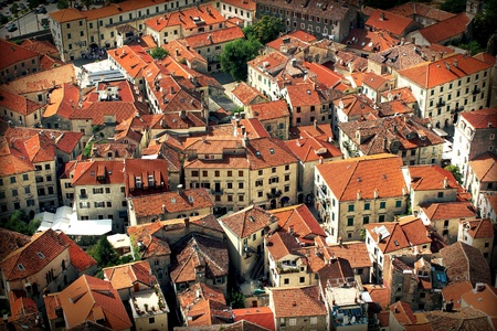 Old Town Kotor, montenegro - houses with red tile roofs photo