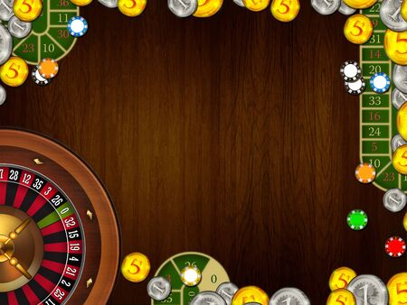 casino gambling coins and tokens background texture illustration