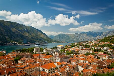 Beautiful landscape view of Kotor Bay, Montenegro, Adriatic sea photo