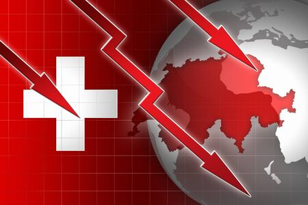decline: swiss economy currency decline illustration with red down arrow background Stock Photo