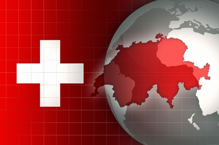 news background: Switzerland Map and Flag on a world globe news background Stock Photo