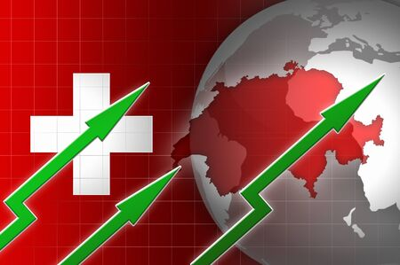 swiss franc: swiss economy currency growth illustration with green up arrow background