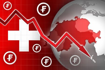 decline: switzerland currency decline down news background illustration Stock Photo