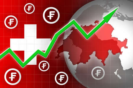 news background: switzerland currency growth up news background illustration
