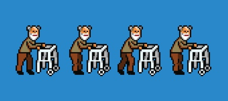 grumpy old man: elderly man with walker pixel art style walking cycle animation isolated Illustration