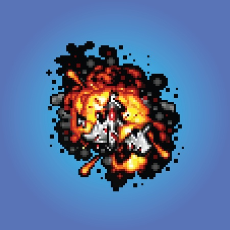 lost in space: space ship on fire pixel art style retro illustration
