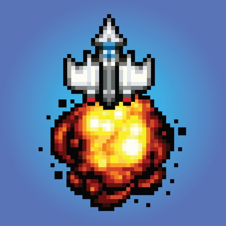 blasting: comic space rocket ship - pixel art style Illustration of spaceship blasting off and flying Illustration