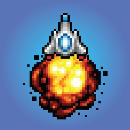 blasting: spaceship pixel art style Illustration of spaceship blasting off and flying