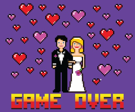 game over: wedding funny card with game over message pixel art style vector illustration