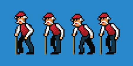 guy with walking stick: old man pixel art style walking cycle animation isolated