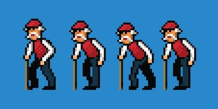 uomo rosso: vecchio stile pixel art piedi animazione ciclo isolato Vettoriali