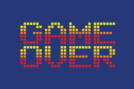 red icons: vector pixel art style game over message isolated Illustration