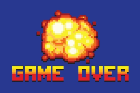 explosion game over message pixel art style retro vector illustration