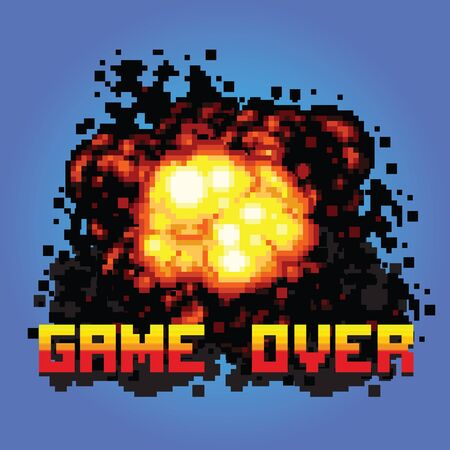game over boom message pixel art vector illustration