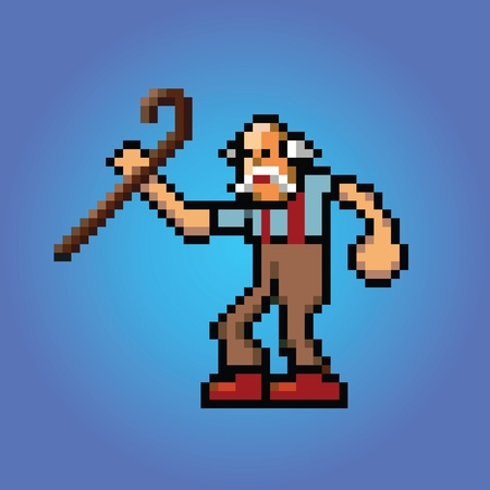 old man with stick in hand pixel art style illustration vector isolated